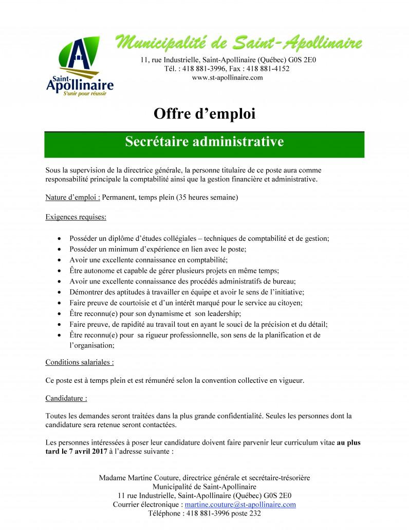 Offre d'emploi - Secrétaire administrative