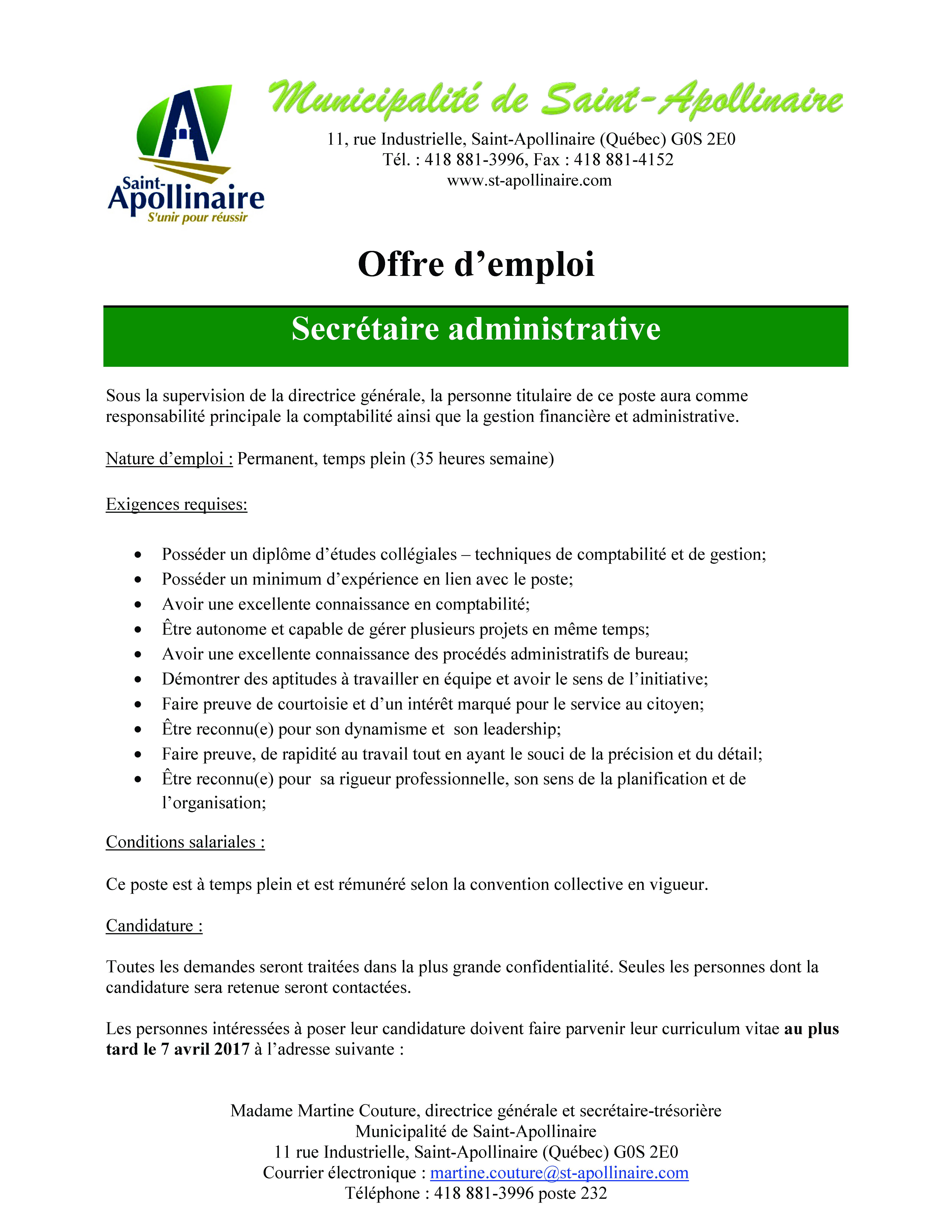 offre d emploi secr 233 taire administrative apollinaire